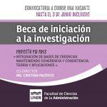 Beca de Iniciación a la Investigación en el marco del Proyecto PID UNER 7053