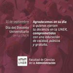 11 de septiembre «Día del Docente Universitario de la UNER»