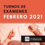 Turno de exámenes febrero 2021