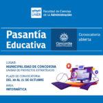 Convocatoria de pasantías de la Municipalidad de Concordia para estudiantes de la carrera de Licenciatura en Sistemas